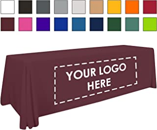 Personalized Add Your Own Logo Custom Tablecloth 8' Burgundy Table Cover - Table Throw