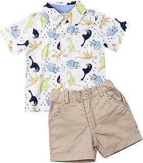 Geagodelia - Conjunto de ropa de verano para bebé de manga corta con estampado de dinosaurios y calcetines, 2 piezas