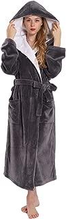 Women's Huge Hooded Long Bathrobe with Chest Button,Lightweight Fleece Long Soft House Coat