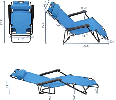 Z ZTDM Portable Lounge Chair Full Flat Cot 2 in 1, Folding Camping Chair, Reclining Chair with Pillow for Indoor Outdoor Pati