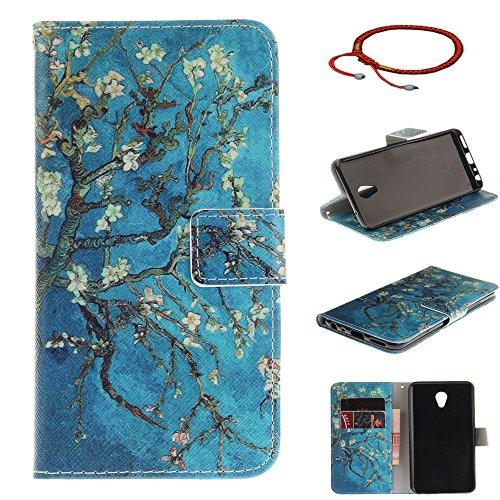 GOCDLJ Schutzhülle für Meizu M5 Note PU Leder Flip Cover Tasche Ledertasche Handytasche Hülle Handyhülle Hülle Etui Schale Wallet Ständerfunktion Shell Design Blau Aprikosenbaum