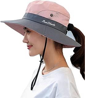 Vankerful Women's Sun Hat Wide Brim Mesh Boonie Hat Foldable Cap Beach Bucket Hat
