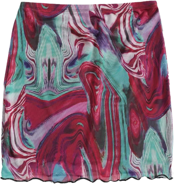 Floerns Women's Stretchy Elastic Waist Print Boho Mini Skirt