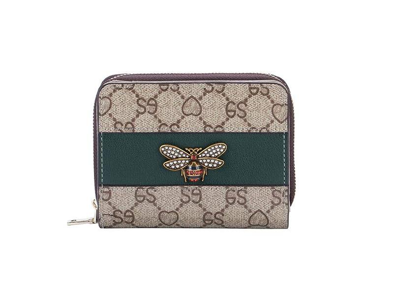 規定オーラルスクリューCoinka 財布 レディース 多機能 短財布 ミニ財布 じゃばら式 クレジットカードケース 花柄型押し ミツバチ飾り