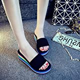 zapatillas de estar por casa mujer invierno,Zapatillas de arena de la torta de corte gruesa de la moda de la moda, el verano usa la nueva palabra arrastre, los zapatos de playa antideslizantes del ho