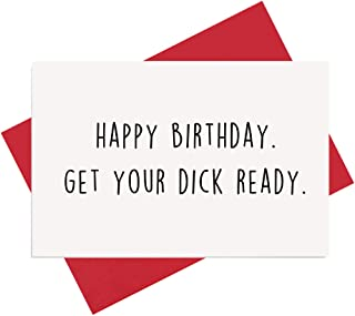 Naughty Birthday Card for Boyfriend, Husband, Funny Rude Dirty Sexy Card for Him, Get Your D Ready
