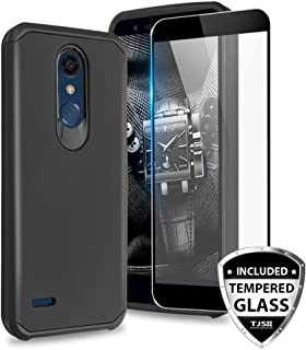 TJS Phone Case for LG K10 2018/K30/Premier Pro LTE/Harmony 2/Phoenix Plus/Xpression Plus, with [Tempered Glass Screen Protector] Dual Layer Hybrid Shockproof Drop Protection Rugged Cover (Black)