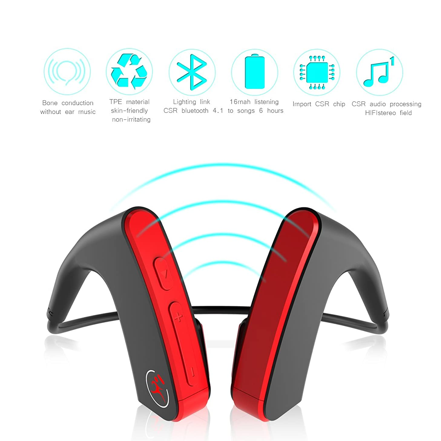Bone Conduction Bluetooth Headset, Hanging Ear Bilateral Stereo Wireless Sports Outdoor Headset for iPhone Android Other Bluetooth Devices-red