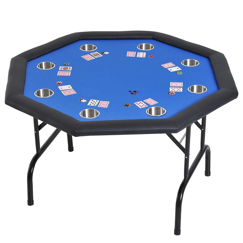 Festnight 8 Player Poker Table Folding Blue Felt 48