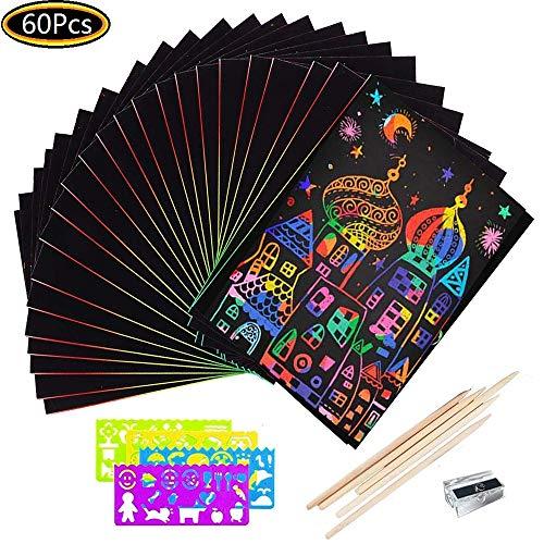 THETAG Scratch Art Paper, Cuadernillos para Rascar Scratch Art Arco Iris y Manualidades para Infantiles/Niños/Regalo(60Pcs)