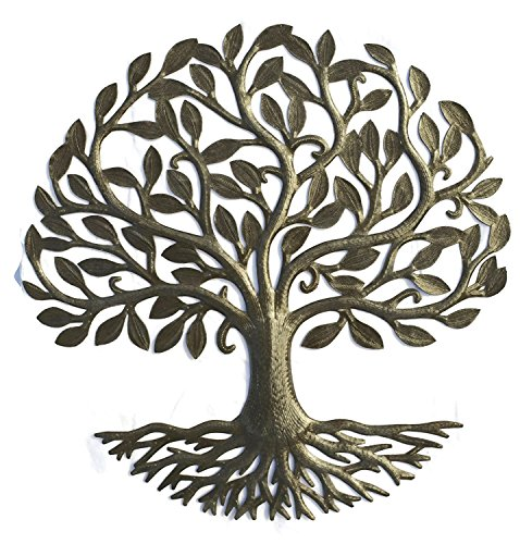 Metal Tree of Life Roots, Large Tree, Rustic Farmhouse Decor, Nature Inspired, Handmade in Haiti, 23 In. x 23 In., Fair Trade Federation Certified