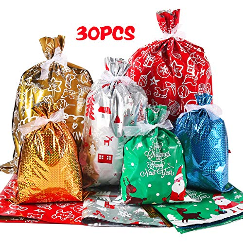 Holiday Foil Gift Bags with Ribbon Tie, 30pcs Gift Wrapping Sacks Pouches Christmas Mylar Goody Bags for Xmas Presents Party Favor, Large Medium Small
