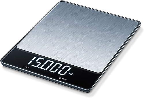 Beurer KS 34 XL Balance de cuisine en acier inoxydable pour un poids précis jusqu'à 15 kg, avec fonction de tare prat...