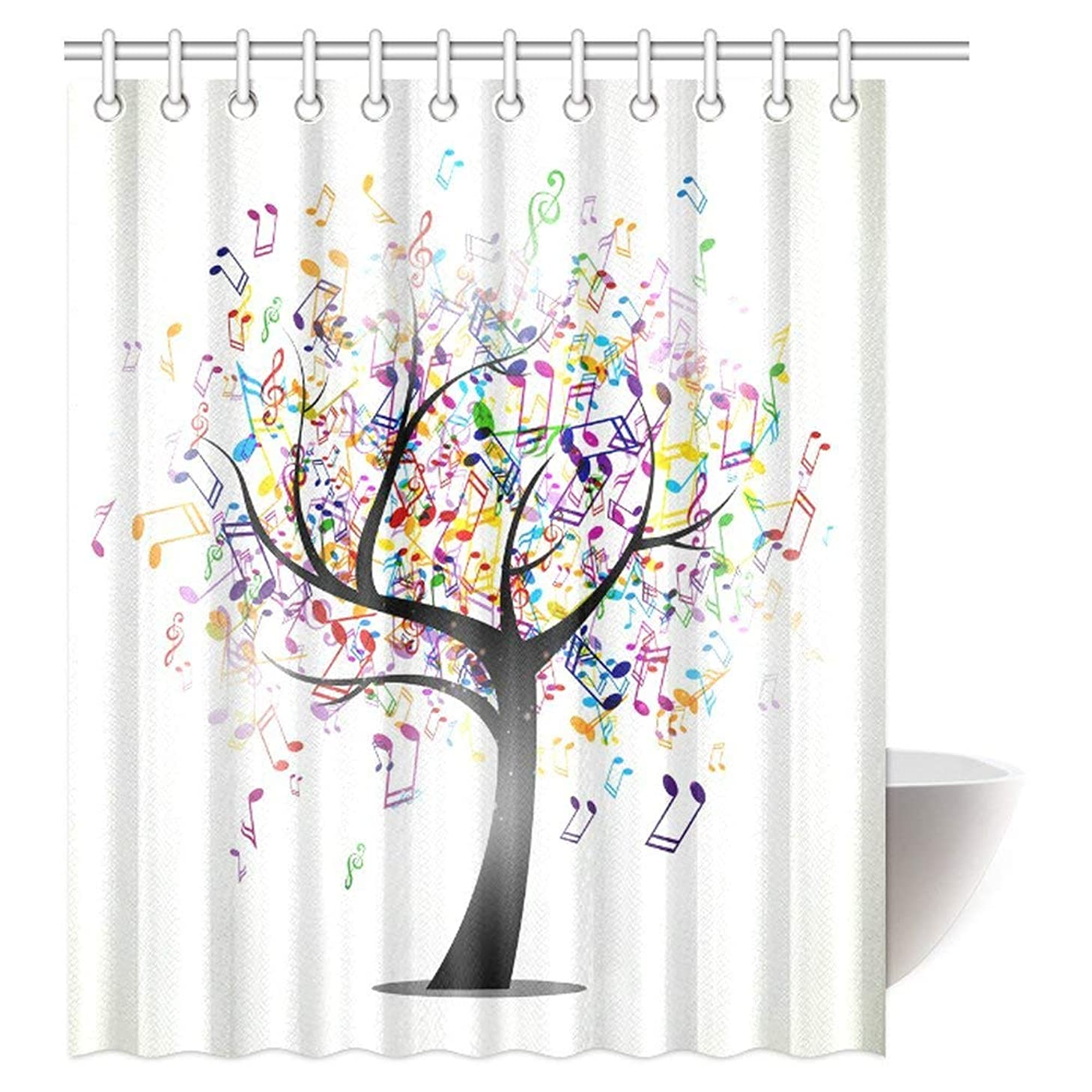 INTERESTPRINT Music Shower Curtain, Tree of Life with Musical Notes Branch Happy Jolly Celebrating Fabric Bathroom Shower Curtain Set with Hooks, 60 X 72 Inches