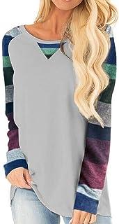 Halife Women's Raglan Long Sleeve O-Neck Patchwork Printed Casual Loose T-Shirts Blouse Tunic Tops