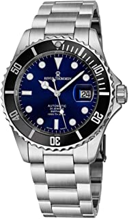 Revue Thommen Mens Automatic Diver Watch - 42mm Analog Blue Face Diving Watch with Luminous Hands, Date and Sapphire Crystal - Stainless Steel Metal Band Swiss Made Waterproof Dive Watch 17571.2123