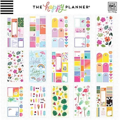 me & my BIG ideas Sticker Value Pack - The Happy Planner Scrapbooking Supplies - Happy Year Theme - Multi-Color - Great… |