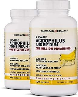 American Health Chewable Acidophilus and Bifidum, Banana, 100 Wafers (Pack of 2)