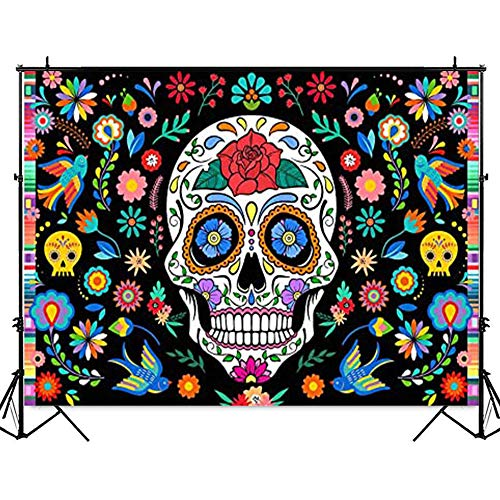 Mexican Dia De Los Muertos Backdrop Day of The Dead Background for Photography Vinyl Birthday Party Supplies Fiesta Banner Table Decoration Mexican Folk Flower Background Photo Booth Studio Props