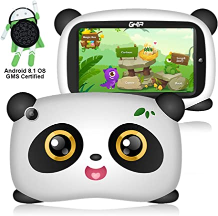 $49 Get GHIA Android 8.1 Kids Tablet - Android 8.1 Oreo Google Certified OS, Support Iwawa Parent Control, Dual Camera Bluetooth, 1GB/8GB, 1024x600 HD Panel, [Panda Design]