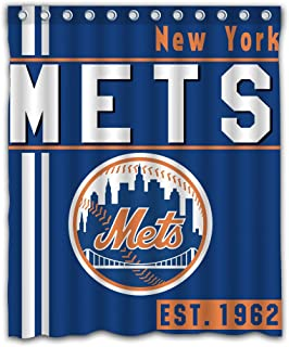 New York Baseball Team Emblem Waterproof Shower Curtain Blue Design Polyester for Bathroom Decoration 60 x 72 Inches with 12-Pack Plastic Hooks