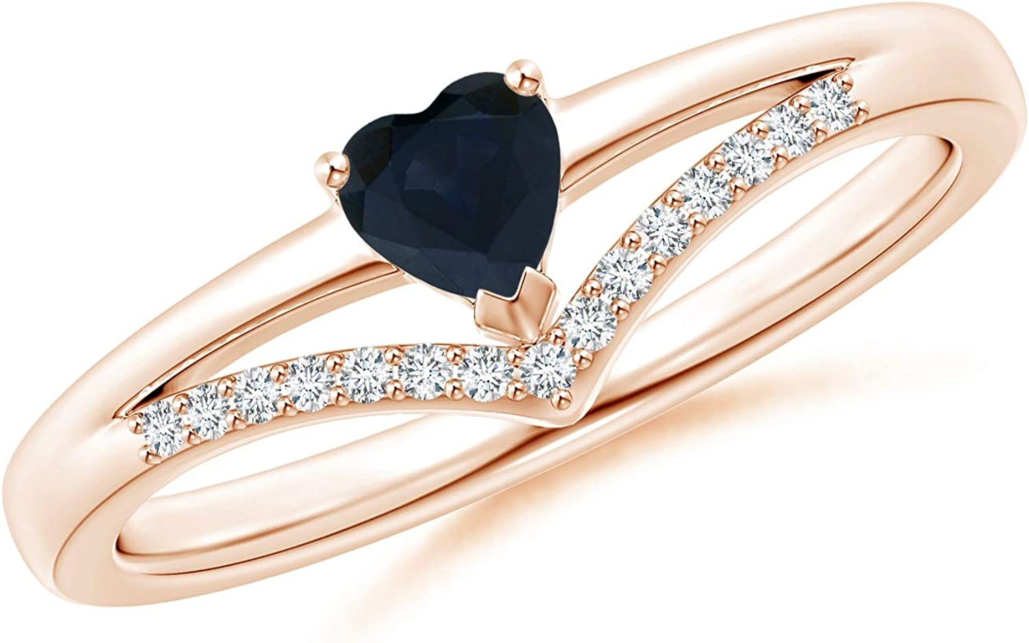 Solitaire Heart Sapphire and shipfree Diamond 4mm Chevron Credence Blue Ring Sapp