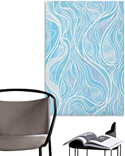 Jaydevn Wall Mural Wallpaper Stickers Seafoam Stained Glass Patterned Ornamental Design Wavy Stripes Abstract Composition Blue Pale Muave Home Decor W20 x H28