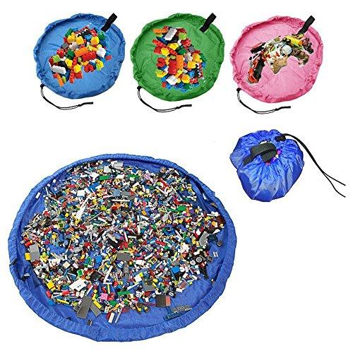 おもちゃ収納袋 玩具/ブロックのお片づけ 直径140cm 収納マット お出かけに便利 多用途 お片付け簡単 超大防水 (ブルー)