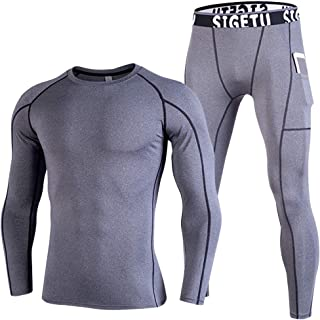 ZDCGT Men's Winter Skiing Warm Underwear Top & Bottom Sets Sport Long Johns Base Layer Compression Suits