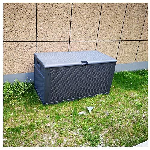 Plastic Deck Box Wicker 120 Gallon, Gray - Waterproof Storage Container Outdoor Patio Garden Furniture