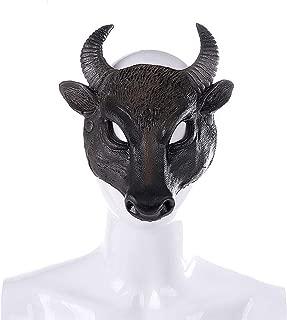 Halloween Mask for Unisex Adult Masquerade Cosplay Animal Buffalo Bull Head Costume Party Ghost House Bar Decor Festival Evangelia.YM (Black)