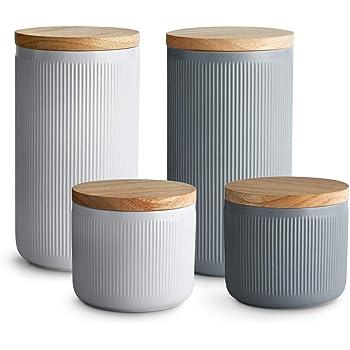 : Keramik Vorratsdosen 4 tlg. Set mit Holzdeckel