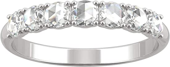 White Gold Moissanite by Charles & Colvard 3mm Round Rose Cut Wedding Band, 0.42cttw DEW