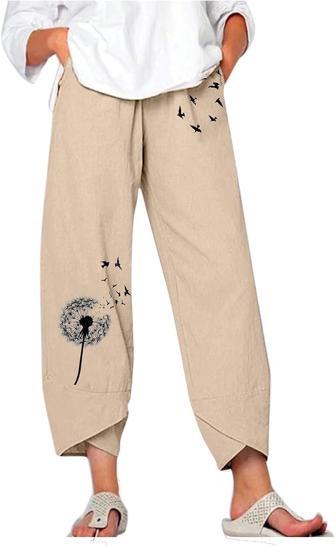 Toeava Capri Pants for Women,Womens Loose Cotton Linen Harem Pants Wide Leg Elastic Waist Capris Crop Pants with Pocket