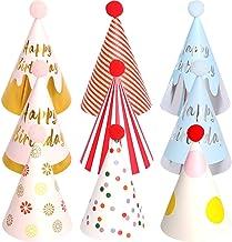 BESTZY 9pcs Gorros de Fiesta Sombreros del Cono de La Fiesta de Cumpleaños Con Poms para Los Cabritos y Los Adultos Fiesta Bienvenida al Bebé Favores (Color La Mezcla)