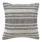 LaLe Living PAMUK - Funda de cojín (45 x 45 cm, algodón), diseño estampado, color blanco y negro