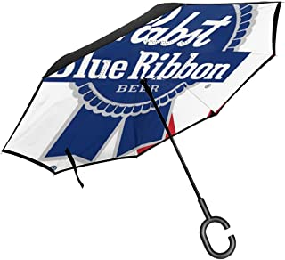 Pabst Blue Ribbon Beer Logo Self Stand Upside-Down Rain Protection Car Reverse Umbrellas with C-Shaped Handle,Reverse Folding Umbrella Windproof