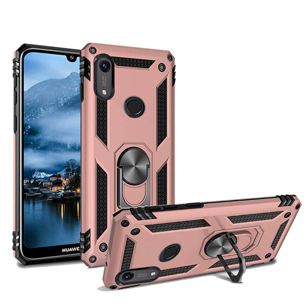 Phone Case for Huawei Y6 2019 /Y6 Prime Armor Heavy Duty 360 Rotatable Ring Kickstand Cover & Magnetic Car Mount Grip Shockproof Back Case for Huawei Honor 8A(Pink)