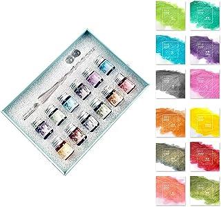 NAROBAN ガラスペン インク セット ガラスディップペンインクセット クリスタルガラスペン アート ライティング 署名 書道 装飾用の12種類のインク 万年筆 手帳 (ピンク,穏やかな風)