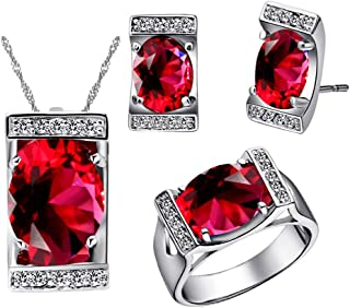 Uloveido Purple Cubic Zirconia Jewelry Set Crystal Pendant Necklace Ring Earrings T094