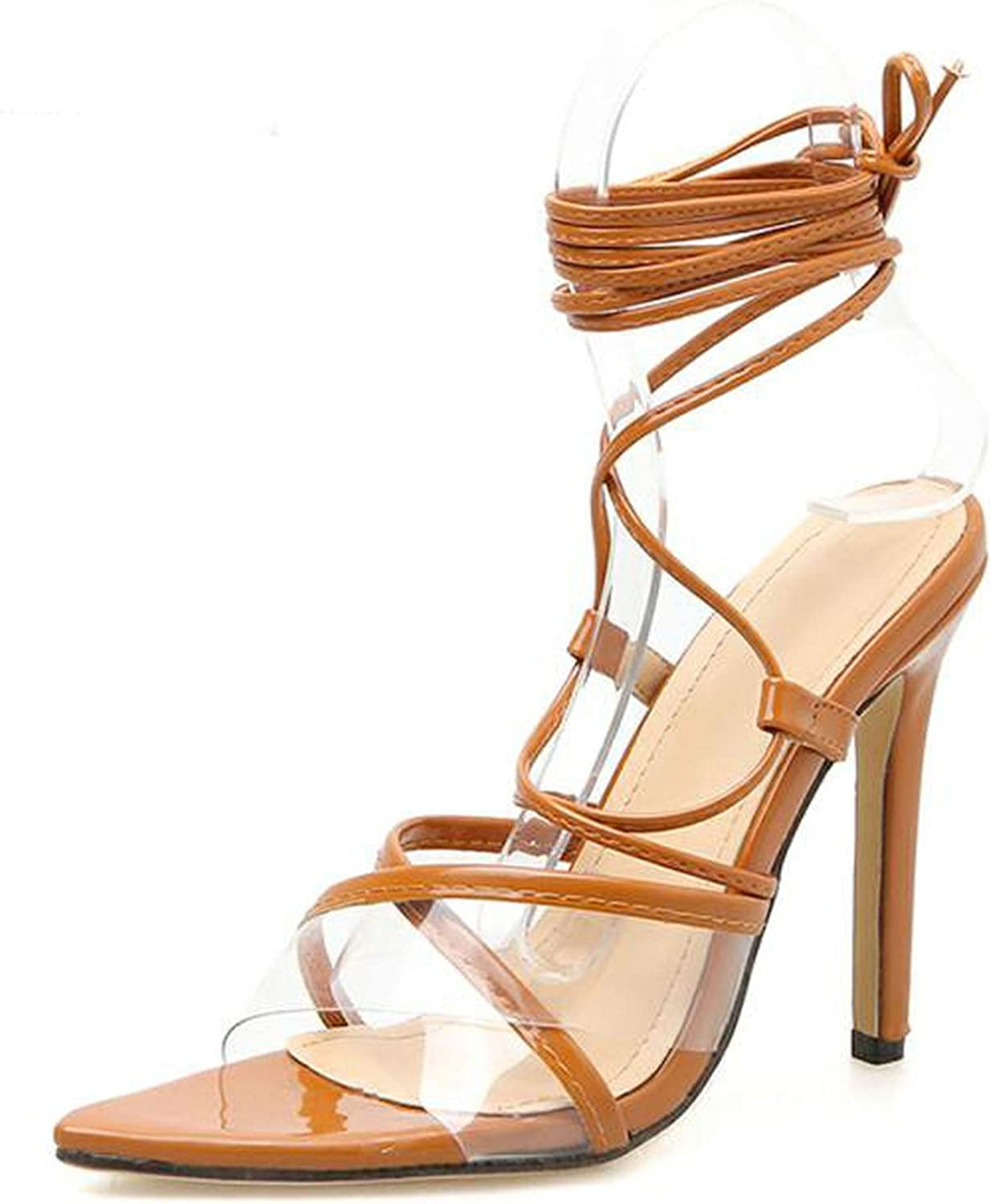 Sandals Lace-Up Transparent Ankle Strap Woman Sandals Thin High Heels,Brown,5