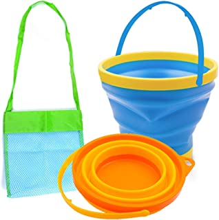 Shindel Foldable Bucket, 3PCS Foldable Pail Bucket Collapsible Buckets for Kids Beach Play Camping Gear Water and Food Jug...