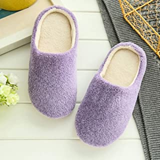 LYLCC New Simple Striped Faux Fur Suede Slippers Warm Winter Slippers Women's Shoes Cotton Non-slip Floor Furry Slippers House Plush Slippers Shoes Women's Indoor Wooden Floor To Warm Cotton Drag