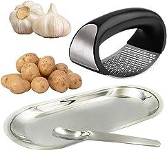 PuPeiLife Garlic Press Rocker Stainless Steel - Mincer Masher Kitchen Tool Minced Potato Squeezer Dried Herbs Crusher Pill...