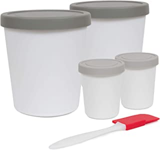 Homemade Ice Cream Containers Set - Reusable BPA Free Freezer Storage with Silicone Lids in Gray- also for Sorbet, Gelato,...