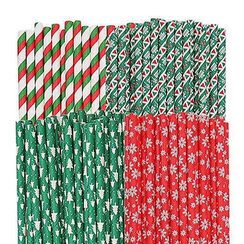 Lifreer 100 Stück Weihnachtspapier-Trinkhalme, biologisch abbaubare Trinkhalme, Schneeflocke, Weihnachtsbaum, Streifen, Windmühlenmuster, Strohhalme, Mix für Weihnachtsfeiern, 4 Stile