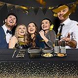 2 Stück Schwarz und Gold Party Tischdecke Einweg für Rechteck Tisch, Gold Dot Confetti Geburtstag Tischdecke für Geburtstag, Jahrestag, Braut Shower, Abschlussfeier, Cocktail Party, 137cm x 274cm - 6