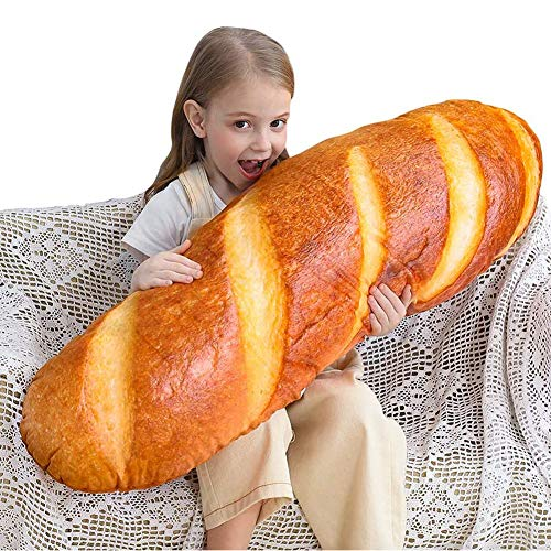 DSZZ Health 3D Bread Shape Pillow Home Soft Lumbar Back Cushion Women Girls Funny Plush Stuffed Toy for Applications of Chair Sofe Car Seat Decoration,60cm