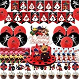 42 Pcs Miraculous Ladybug Birthday Party Supplies Decorations Favors Set Ladybug Superhero Girl Kids Birthday Party Decor, Guests Complete Tableware Decoration