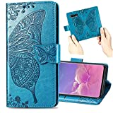 Nadoli Leder Hülle für LG G7,Retro Schmetterling Blumen Muster Kunstleder Trageschlaufe Ständer Flip Brieftasche Handyhülle Schutzhülle für LG G7,Blau -